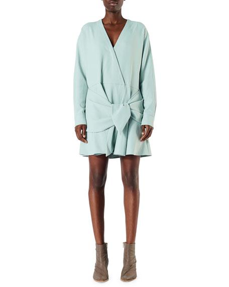 Tibi Draped Long-Sleeve Belted Short Dress