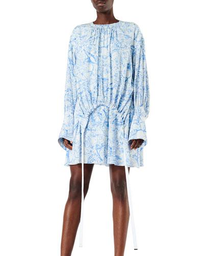 Isa Toile Drawstring Crepe De Chine Dress