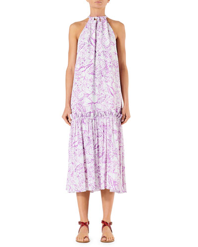 Isa Toile Sleeveless Tie-Neck Dress