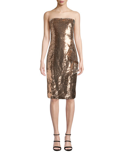 Noelle Sequined Strapless Knee-Length Cocktail Dress