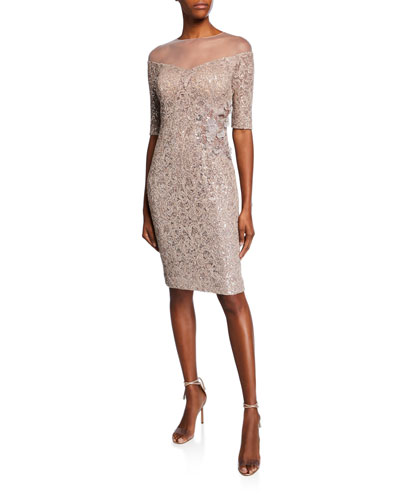 Off-the-Shoulder Illusion Elbow-Sleeve Lace Sheath Dress w/ Sequins