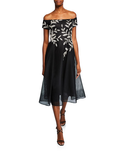 Leaf-Embellished Off-the-Shoulder Full-Skirt Neoprene Dress
