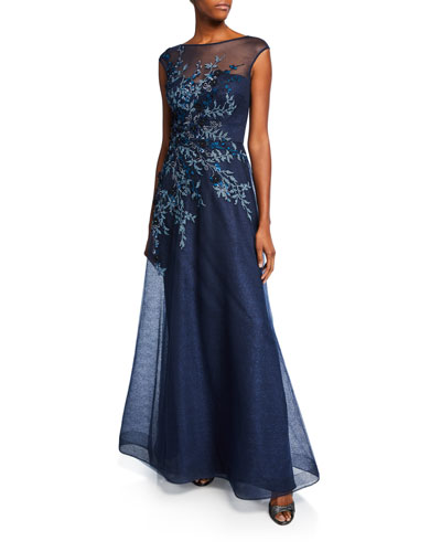 Embellished Bateau-Neck Cap-Sleeve A-Line Gown