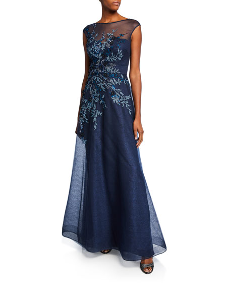 Rickie Freeman for Teri Jon Embellished Bateau-Neck Cap-Sleeve A-Line Gown