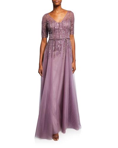 Beaded V-Neck Short-Sleeve Tulle Gown