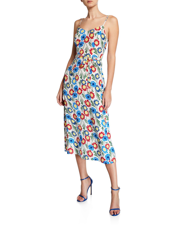 Hvn JOSEPHINE SILK FLORAL-PRINT LONG SLIP DRESS