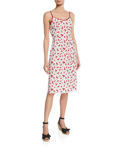 Susan Cherry-Print Slip Dress