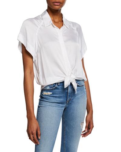 Tie Front Button Flutter Sleeve Shirt