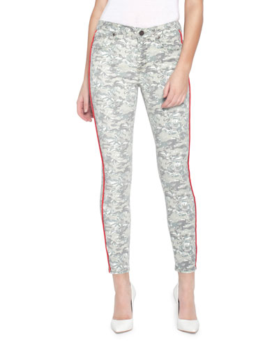 Ava Printed Skinny Jeans w/ Side Stripes