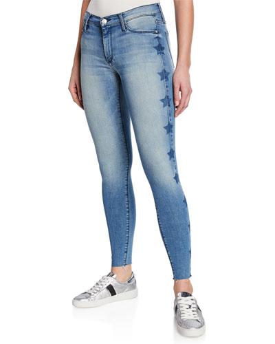 Noah Ankle Fray Skinny Jeans w/ Stars