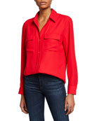 Equipment Signature Button-Down Long-Sleeve Collared Blouse