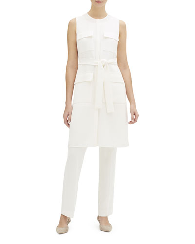 Brooks Sleeveless Finesse Crepe Duster Jacket