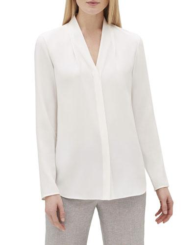 Krimson V-Neck Long-Sleeve Matte Silk Blouse