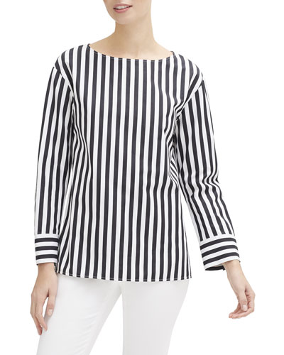 Graham Strada-Striped Long-Sleeve Cotton Blouse