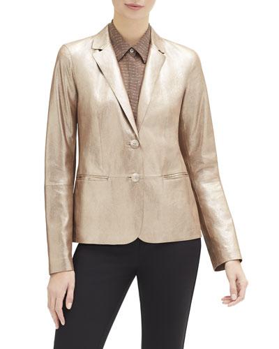 Camden Stardust Glitter Button-Front Suede Jacket