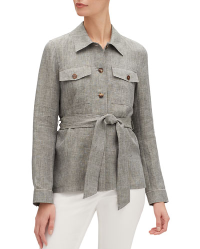 John Button-Front Belted Nexus Linen Jacket
