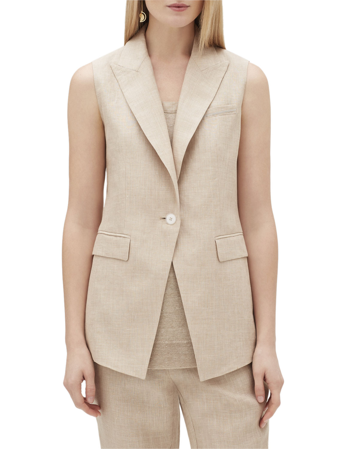 Lafayette 148  VANYA ONE-BUTTON NEXUS LINEN VEST