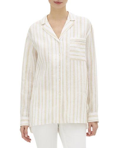 Darbin Savena-Stripe Button-Front Linen Blouse