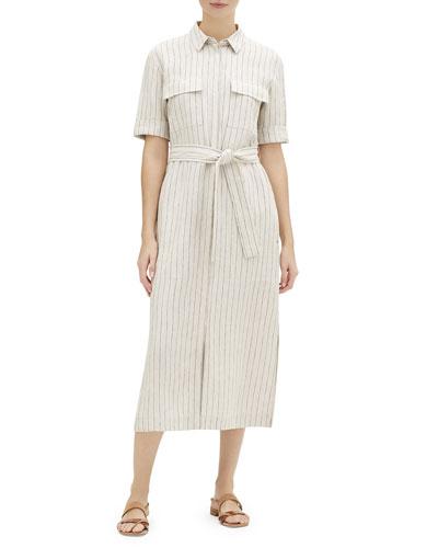 Doha Sundance Stripe Short-Sleeve Shirtdress