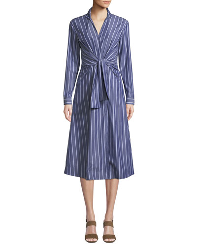 Kylo Concord Stripe Long-Sleeve Wrap Dress
