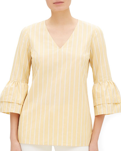 Fabrice Sunbeam-Striped V-Neck Bell-Sleeve Blouse