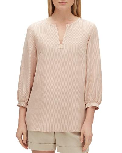Gaia Signore Stripe V-Neck 3/4-Sleeve Silk Blouse