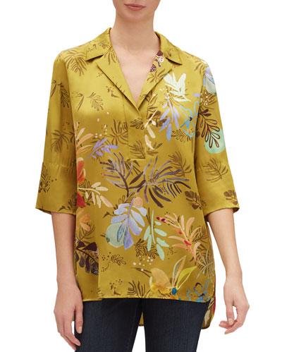 Bouquet-Print 3/4-Sleeve Drape Cloth Blouse