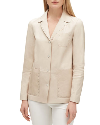 Jolisa Button-Front Glazed Weightless Lambskin Leather Jacket w/ Grommets