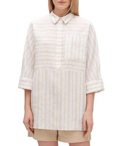 Malaysia Savena Stripe Linen Blouse