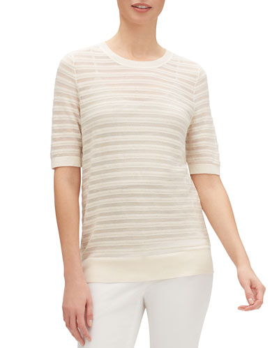 Striped Crewneck Elbow-Sleeve Semisheer Dolman Sweater