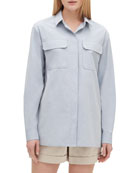 Lafayette 148 New York Everson Button-Down Sueded Italian