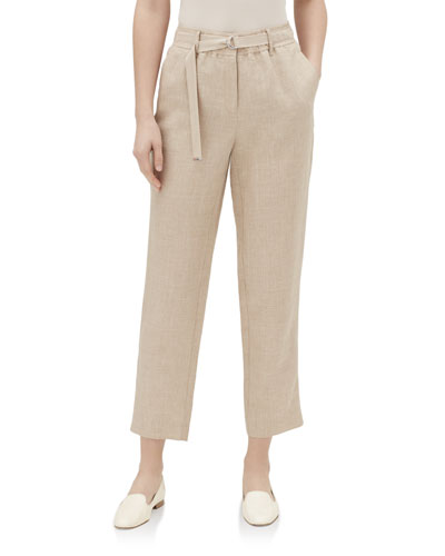 Dekalb Straight-Leg Cropped Nexus Linen Pants