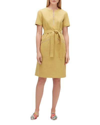 Elizabella Zip-Front Short-Sleeve Fundamental Bi-Stretch Dress