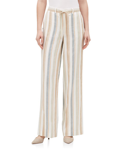 Harmonious Columbus Striped Wide-Leg Linen Pants