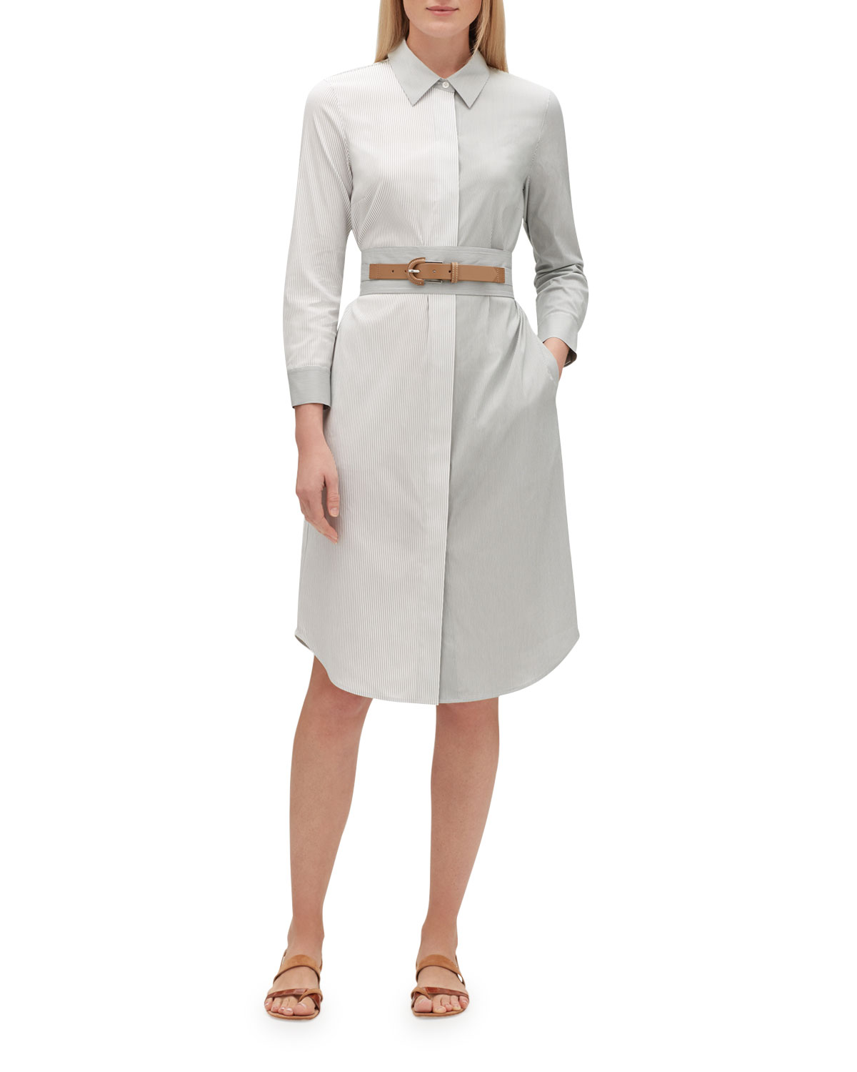 Lafayette 148 Dresses PEGGY PARKSIDE-STRIPE BUTTON-DOWN BELTED COTTON SHIRTDRESS