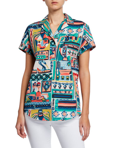 Huxley Palazzo Patchwork Printed Short-Sleeve Cotton Blouse