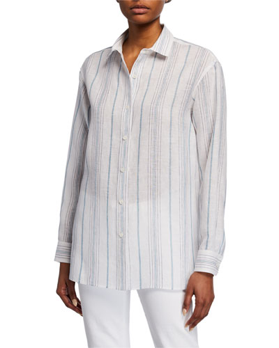 Everson Striped Linen Blouse