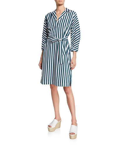 Laticia Striped Shift Self-Tie Dress