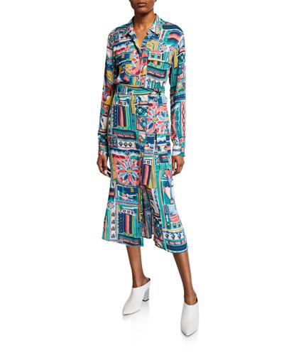 Doha Palazzo Patchwork-Printed Long-Sleeve Crepe Shirtdress
