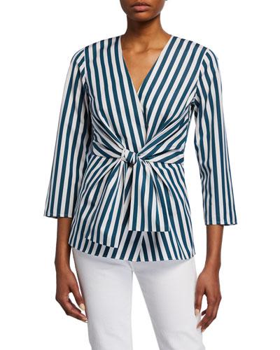 Dayana Strada Stripe V-Neck 3/4-Sleeve Blouse
