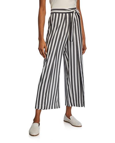 Skyline Showcase-Stripe Cropped Wide-Leg Silk Pants