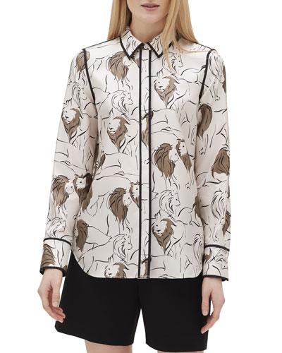 Scottie Italia Leo-Print Button-Front Silk Blouse
