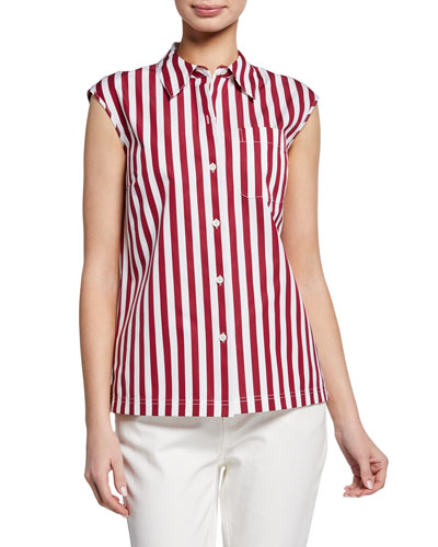 Yani Strada-Stripe Button-Front Sleeveless Blouse