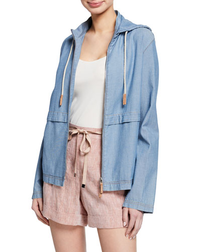 Joe Artisan Chambray Zip-Front Hoodie Jacket