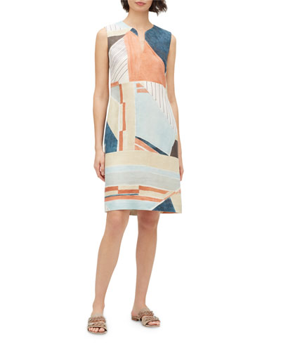 Taren Geometric Sleeveless Linen Dress