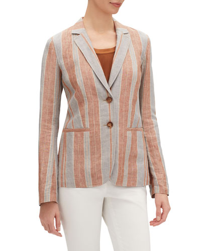 Vangie Lombardy-Stripe Two-Button Linen Jacket