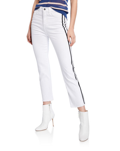 Carly Cropped Kick Flare Jeans with Side Stripes