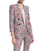 Veronica Beard Empire Printed Linen-Blend Dickey Jacket