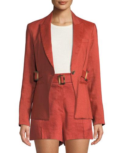 Baltazar Linen Peplum Dickey Jacket