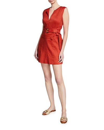Sadira Linen-Blend V-Neck Short Dress